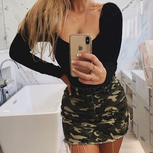 Green camo mini skirt